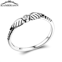 Authentic 925 Sterling Silver Fine Shiny Zirconia Retro Angel Wings Stackable Ring for Women Wedding Party Fine Jewelry Gift