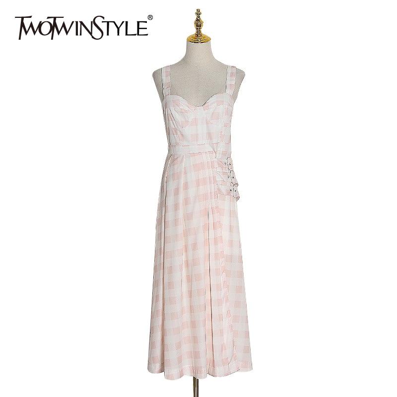 >TWOTWINSTYLE Plaid Hit Color Women Dress Square Collar Puff Sling Sleeveless High Waist Sashes Midi Dresses <font><b>Female</b></font> <font><b>2020</b></font> <font><b>Clothing</b></font>