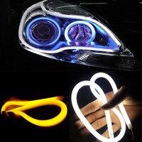 2 uds Ojo de ángel de luz diurna ultrafino 30cm 45cm Led Flexible DRL 60cm de tira del estilo de señal de Amarillo/Blanco/azul