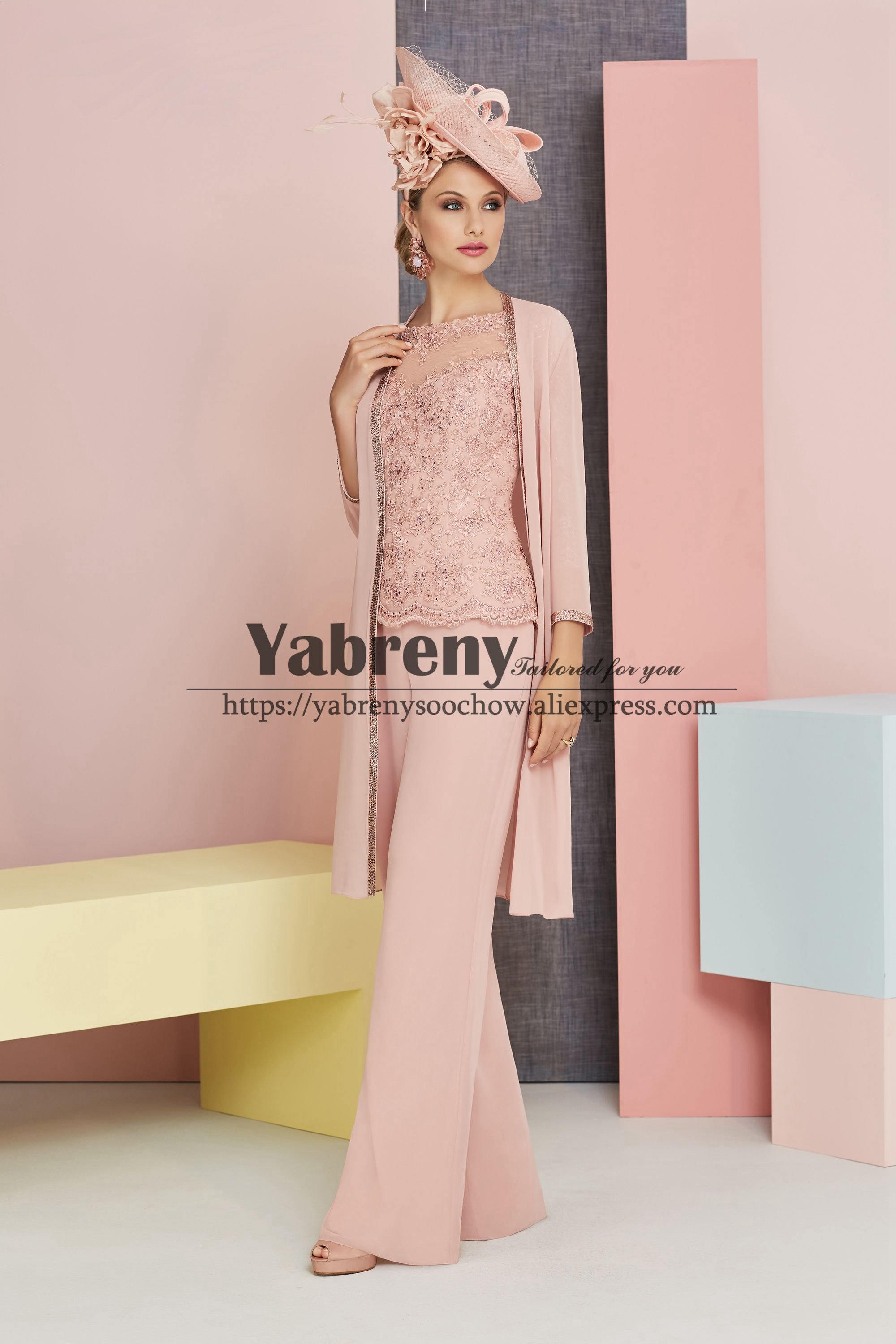 Elegant Mother Of The Bride Pant Suits With Jacket Pink Chiffon Trousers Outfit