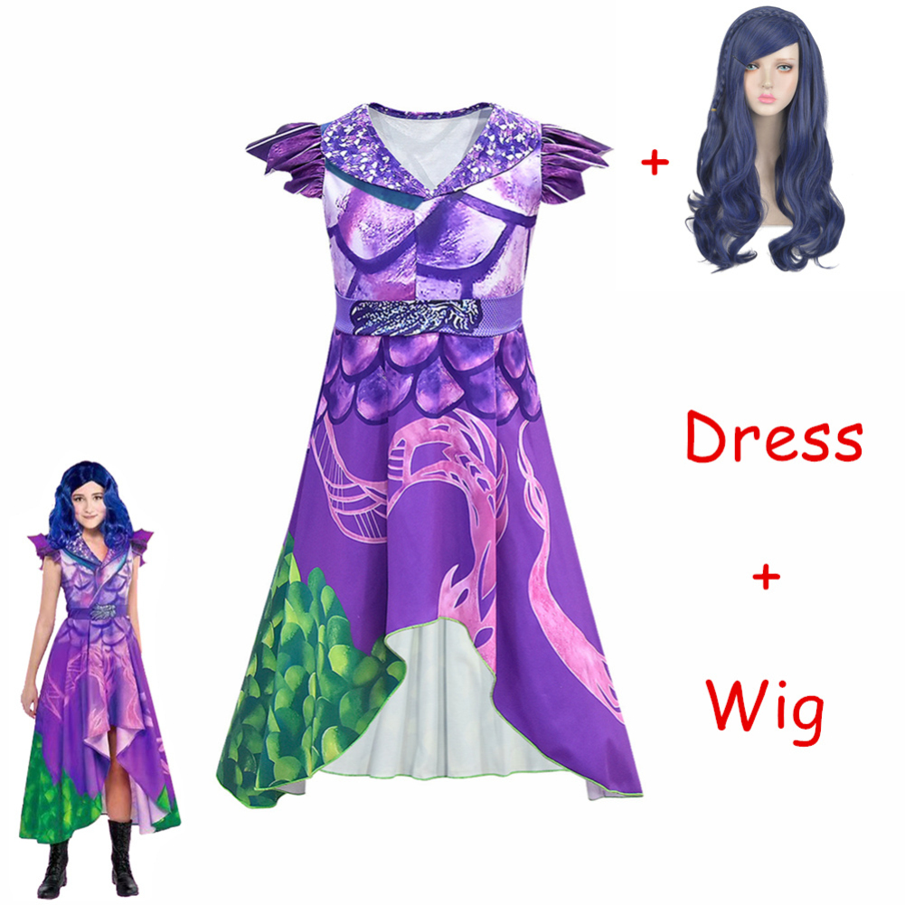 Hot Sale Descendants 3 Evie Cosplay Dress Mal Costume Top Pants Full Set Adult Women Kids Halloween Carnival Costume For Girls