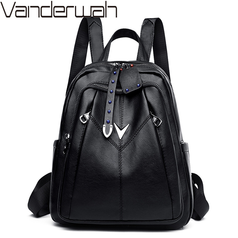 Women Backpack Female Vintage Leather Backpacks Ladies Sac A Dos School Bags For Girls Large Capacity Travel Back Pack Rucksacks