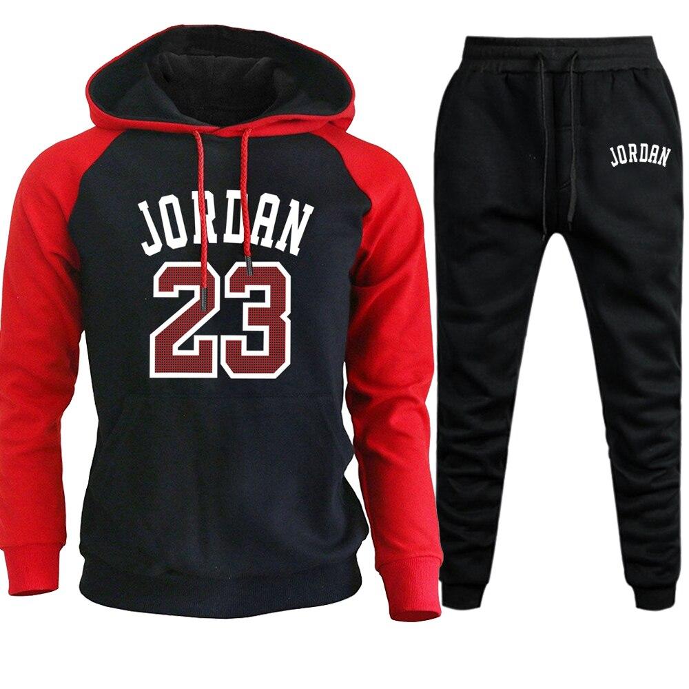 Jordan 23 Mens Sets Autumn Winter Hoodies Pants 2Pieces 2019 Casual Hooded Sweatshirt Sportswear Sweatpants Set Pullover Hoodies