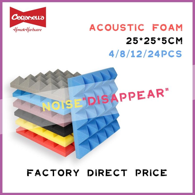 250x250x50mm 8/12/24 pces estúdio acústico à prova de som espuma pirâmide tratamento de absorção de som painel telha cunha esponja protetora