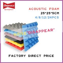 250x250x50mm 8/12/24pcs Studio Acoustic Soundproof Foam Pyramid Sound Absorption Treatment Panel Tile Wedge Protective Sponge