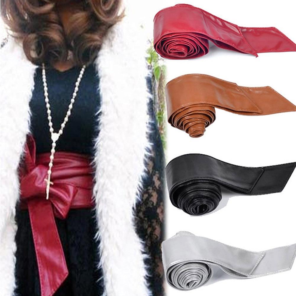 Elastic Stretch PU Waistband Lady Cummerband Waistband Waist Seal Wide Bow Belt For Dress Coat Jacket Women Girls