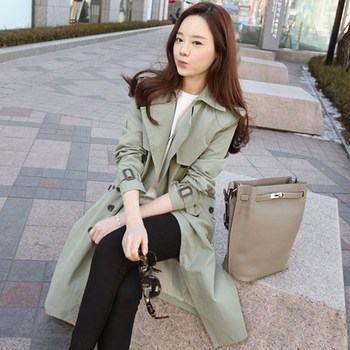 Overcoat Spring Autumn Fashion Trench Coat New Casual Mid-length Large-sized Outwear Straight Double-breasted Windbreaker Z121