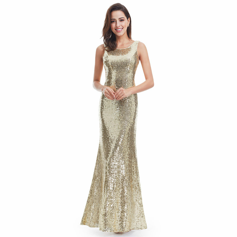It's Yiiya Evening Dresses O-Neck Sequined Floor-Length Plus Size Robe De Soiree C407 Sleeveless Mermaid Dress Woman Party