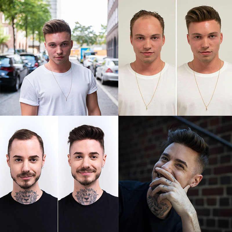 Ultra ince deri saç peruk erkekler için doğal görünümlü % 100% avrupa insan saçı dantel ve PU değiştirme sistemi erkek peruk adam Hombre Remy