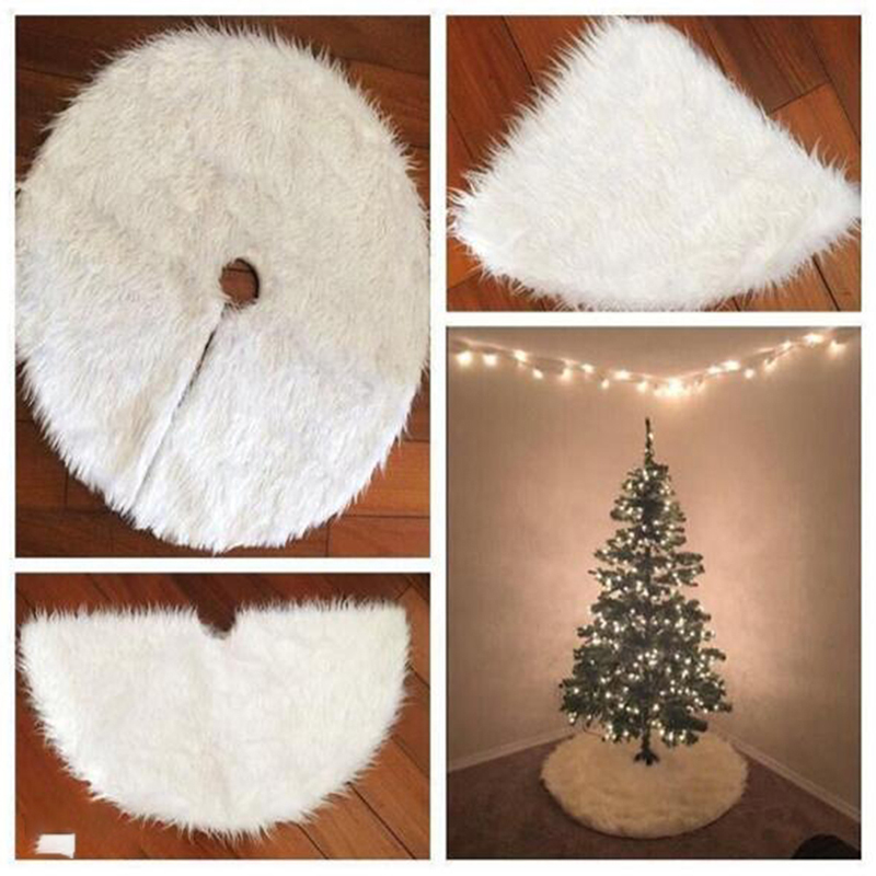 Pure White Plush Tree Skirt Luxurious Tree Skirt Soft Thick Exquisite Small Tree Skirts Christmas Tree Decoration Accessories