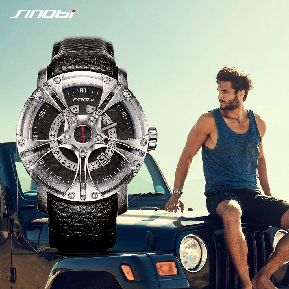 Мужские водонепроницаемые кварцевые наручные часы с кожаным ремешком