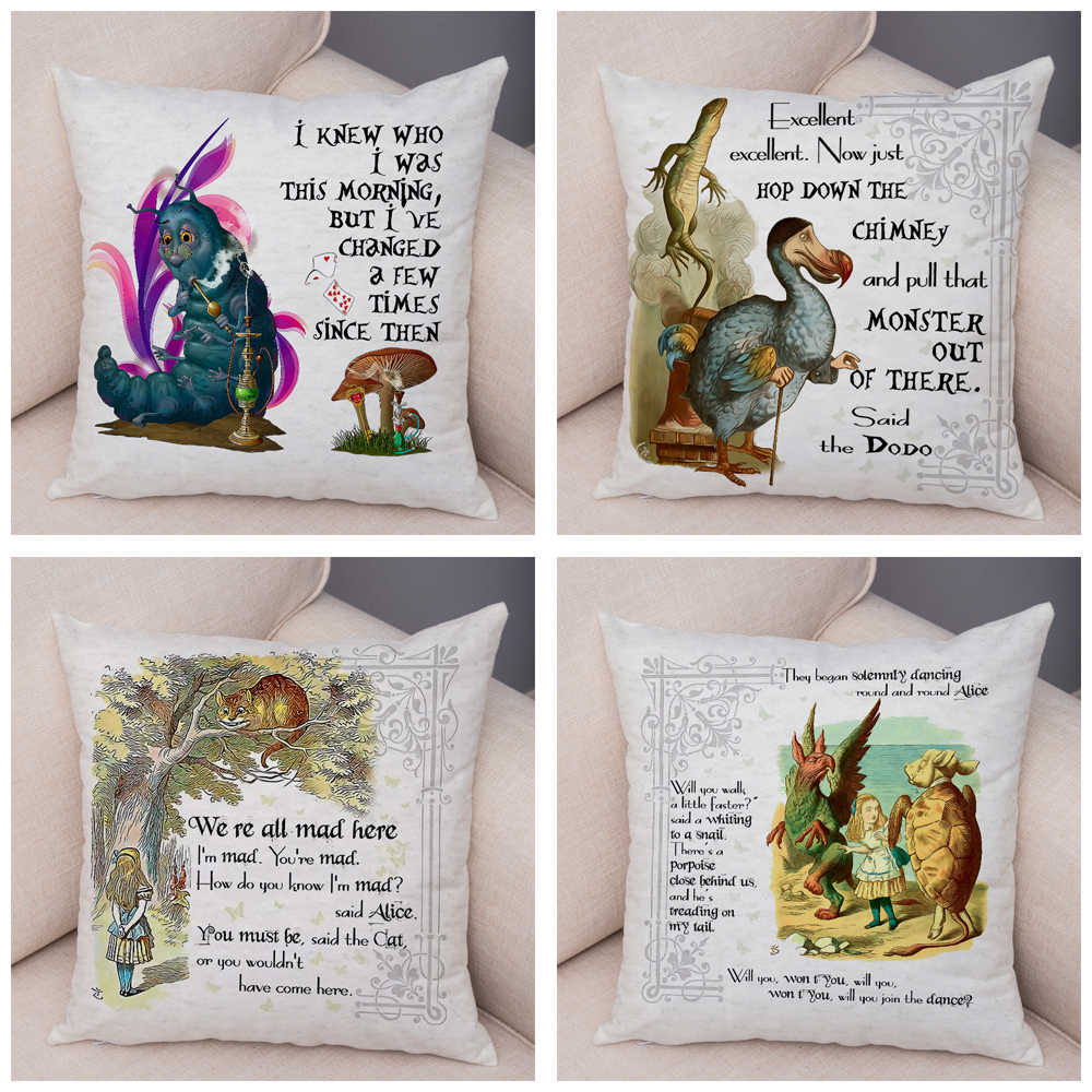 Home Furniture Diy Alice Wonderland Caterpi Printed Cushion Covers Pillow Cases Home Decor Or Inner Kisetsu System Co Jp