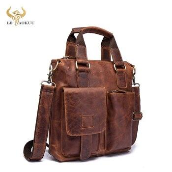"""Men Original Leather Retro Designer Business Briefcase Casual 12"""" Laptop Travel Bag Tote Attache Messenger Bag Portfolio B259"""