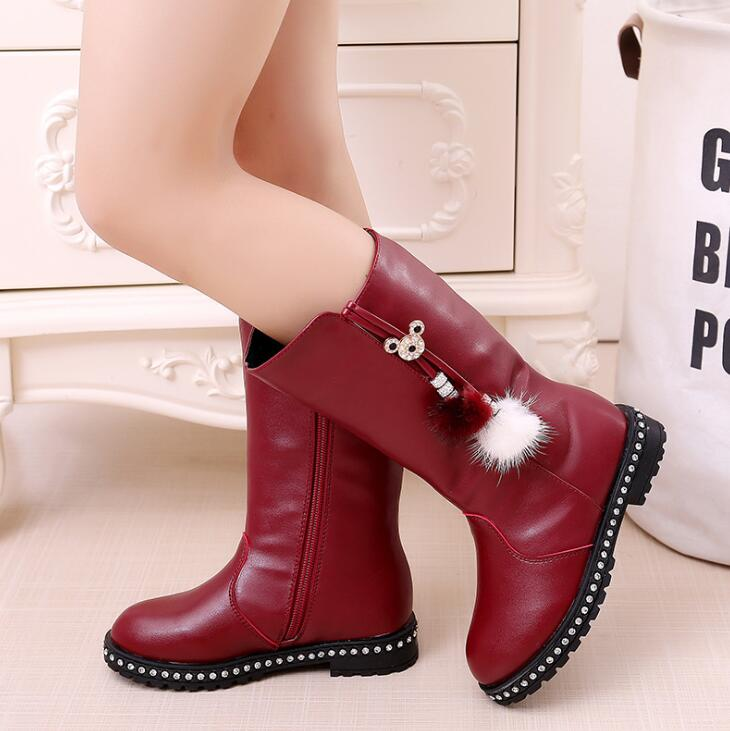 New Leather Girls Boots Fashion Female Children Snow Boots Waterproof Warm Children Boots Size27-37