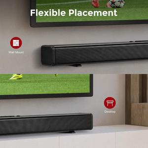 Image 5 - Sound Bar for TV, 32 Inch Soundbar Wired & Wireless Bluetooth 5.0 Speaker, 3D Surround Sound Home Theatre System, Wall Mountable