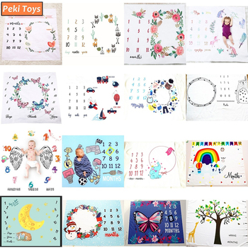 Infant Baby Monthly Growth Milestone Blankets Background Play Mats Backdrop Cloth Calendar Photo Props Accessories Uni