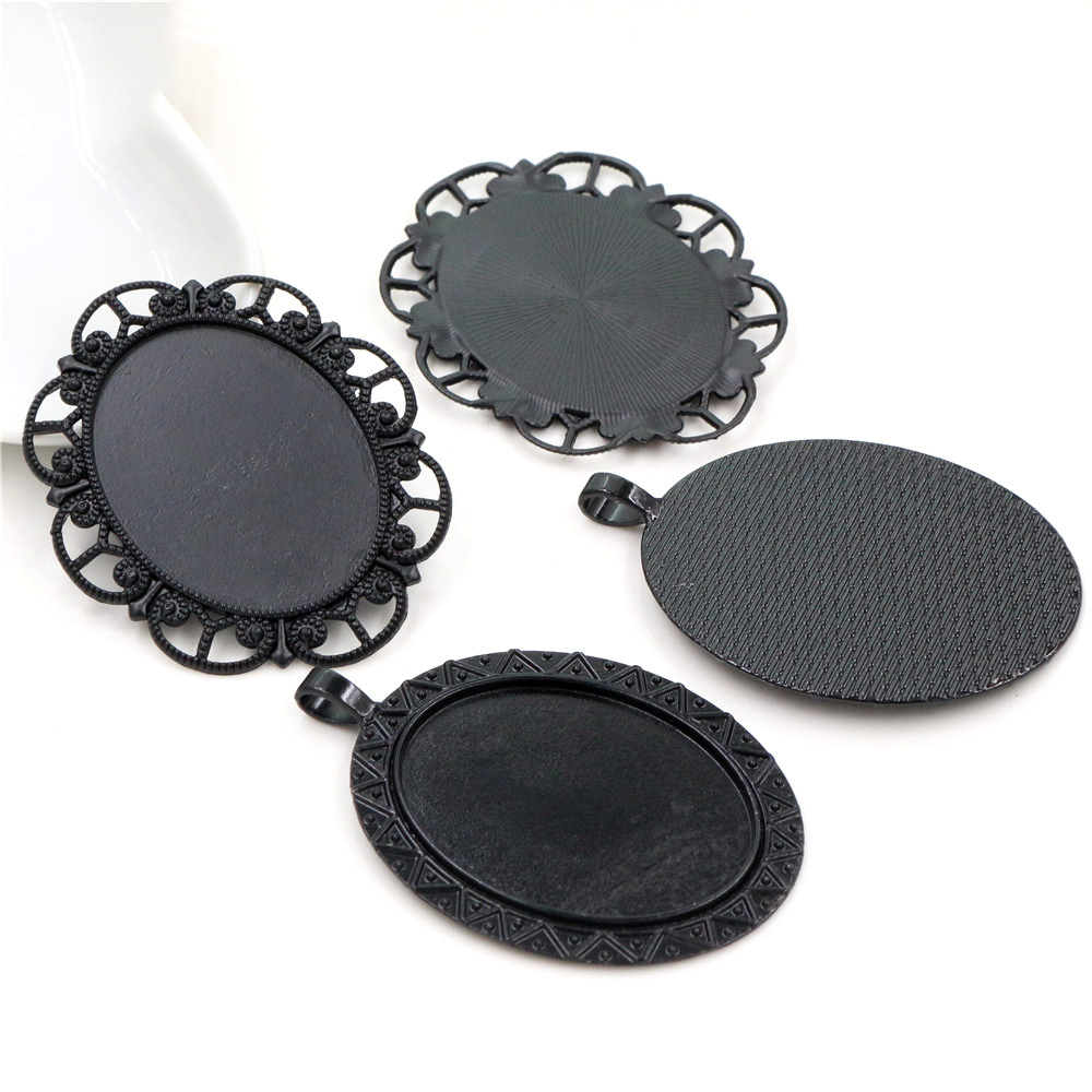 New Fashion 5pcs 30x40mm Inner Size Black Colors Plated  Cabochon Base Setting Charms Pendant