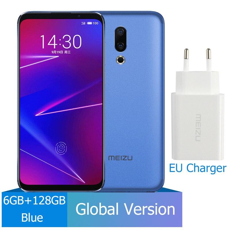 Meizu 16, 6 ГБ, 64 ГБ, глобальная версия, Смартфон Snapdragon 710, четыре ядра, мобильный телефон на фронтальной панели 20 МП, 3100 мАч, встроенный экран, отпечаток пальца - Цвет: 128G Blue