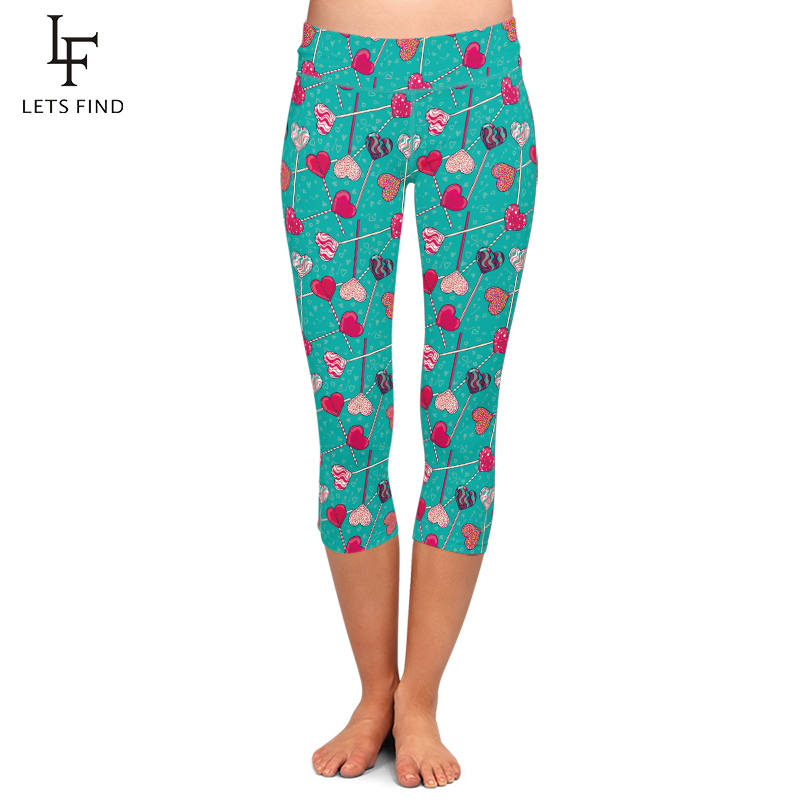 LETSFIND Summer Plus Size Women Love Candy Print High Waist Capri Leggings Fitness Elastic Mid-Calf 3/4 Leggings