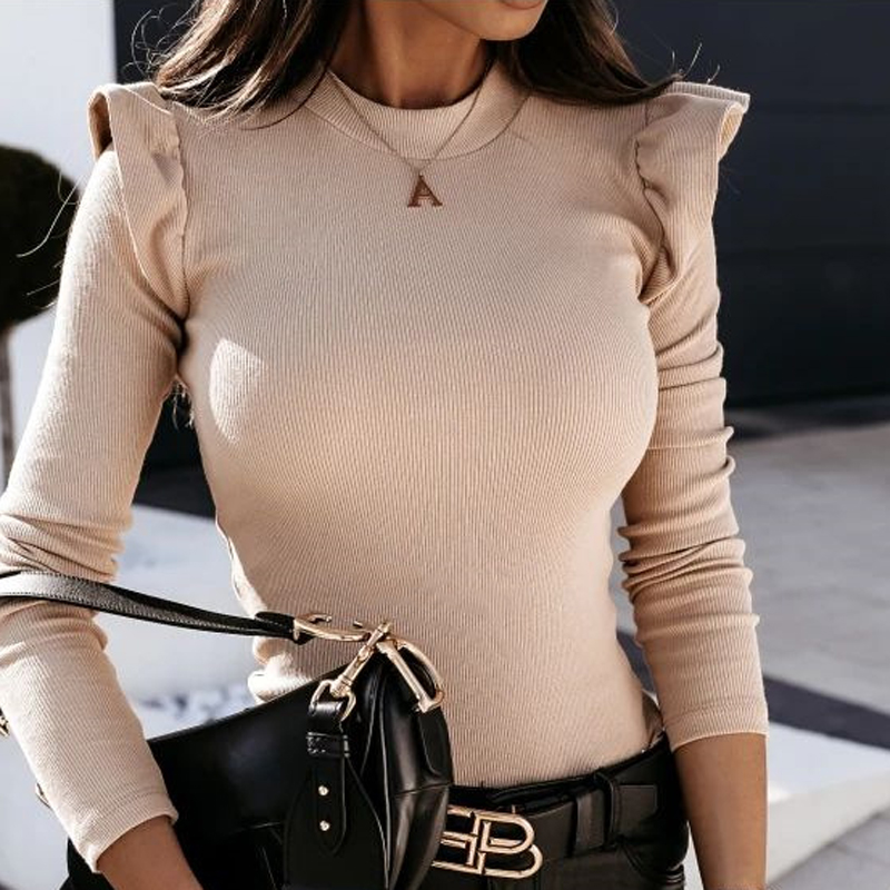 Sexy delle donne Con Scollo A V Button Camicette Camicette Autunno 2020 Elegante Casual Maniche Lunghe Solido Magliette E Camicette 5XL Femminile Moda Vintage Sottile Blusa
