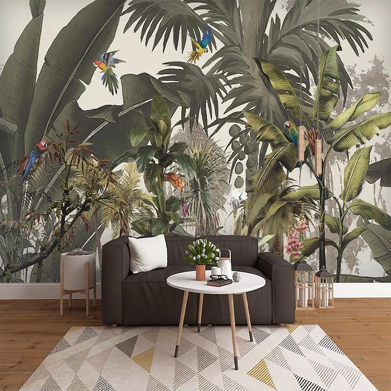 Custom 3D Photo Wallpaper Tropical Rainforest Plant Flower Bird Art Wall Painting Bedroom Waterproof Self-adhesive Mural Sticker