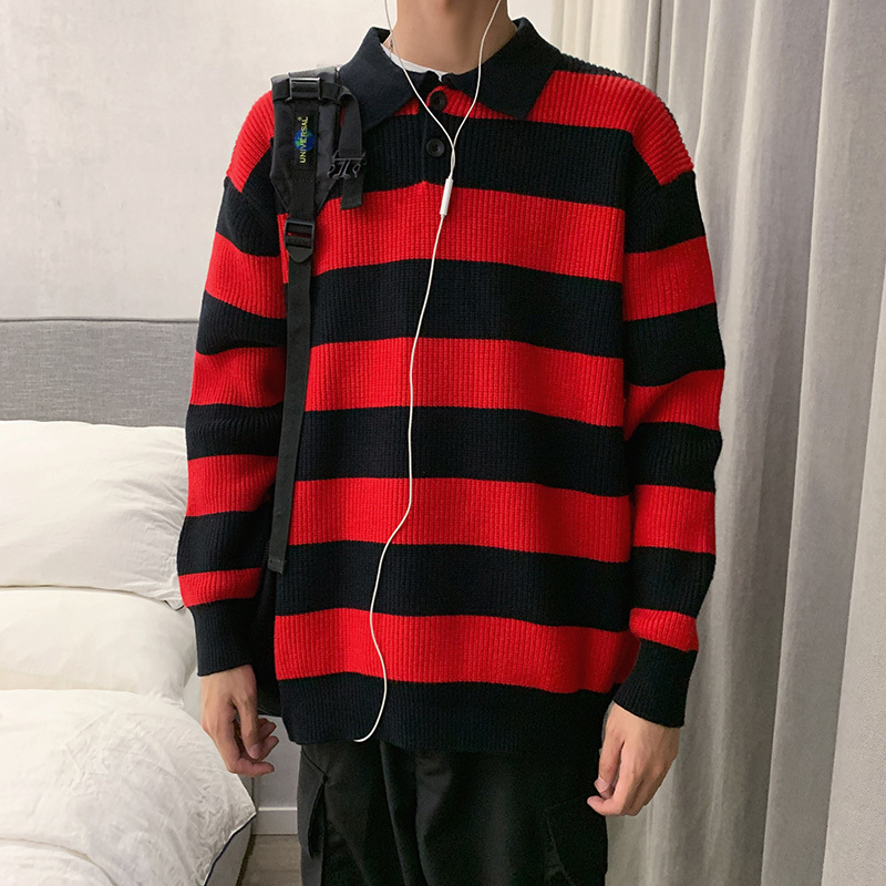Winter Lapel Sweater Men's Warm Fashion Contrast Color Casual Knit Sweater Man Wild Loose Striped Pullover Male Clothes