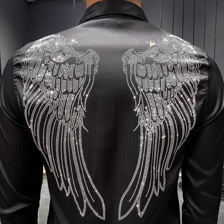 2019 Men Shirt Designer Rhinestone Wing Long Sleeve Casual Slim Fit Dress Shirts Black White Streetwear Camisa Social Masculina
