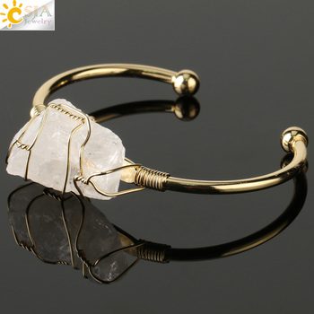 CSJA Natural Stone Bangle Gold-color Wire Wrap Irregular Crystal Quartz Cuff Copper Bracelets for Women Girls Kids Jewelry G327 17