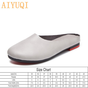 Image 3 - AIYUQI Frauen Hausschuhe 2020 Frühling Neue Echtem Leder Frauen Schuhe große Größe 41 42 43 Flache Beiläufige Sommer Halb Hausschuhe frauen