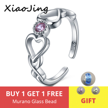 2019 Real 925 Sterling Silver Infinite Heart CZ Adjustable Open Finger Ring For Women Wedding Engagement Rings Luxury Jewelry strollgirl authentic 925 sterling silver infinite heart shape ring adjustable open rings luxury sterling silver jewelry 2019