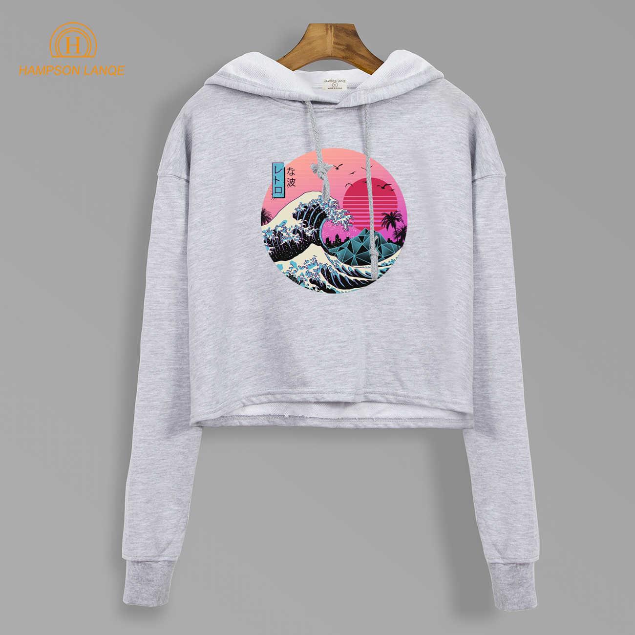 Die Große Retro Welle Japan Anime Ernte Hoodies Marke Vaporwave Kurze Stil Sweatshirts 2019 Neue Herbst Harajuku Cropped Pullover