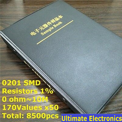 0201 SMD Resistor Sample Book 170values*50pcs=8500pcs 1% 0ohm To 10M Chip Resistor Assorted Kit