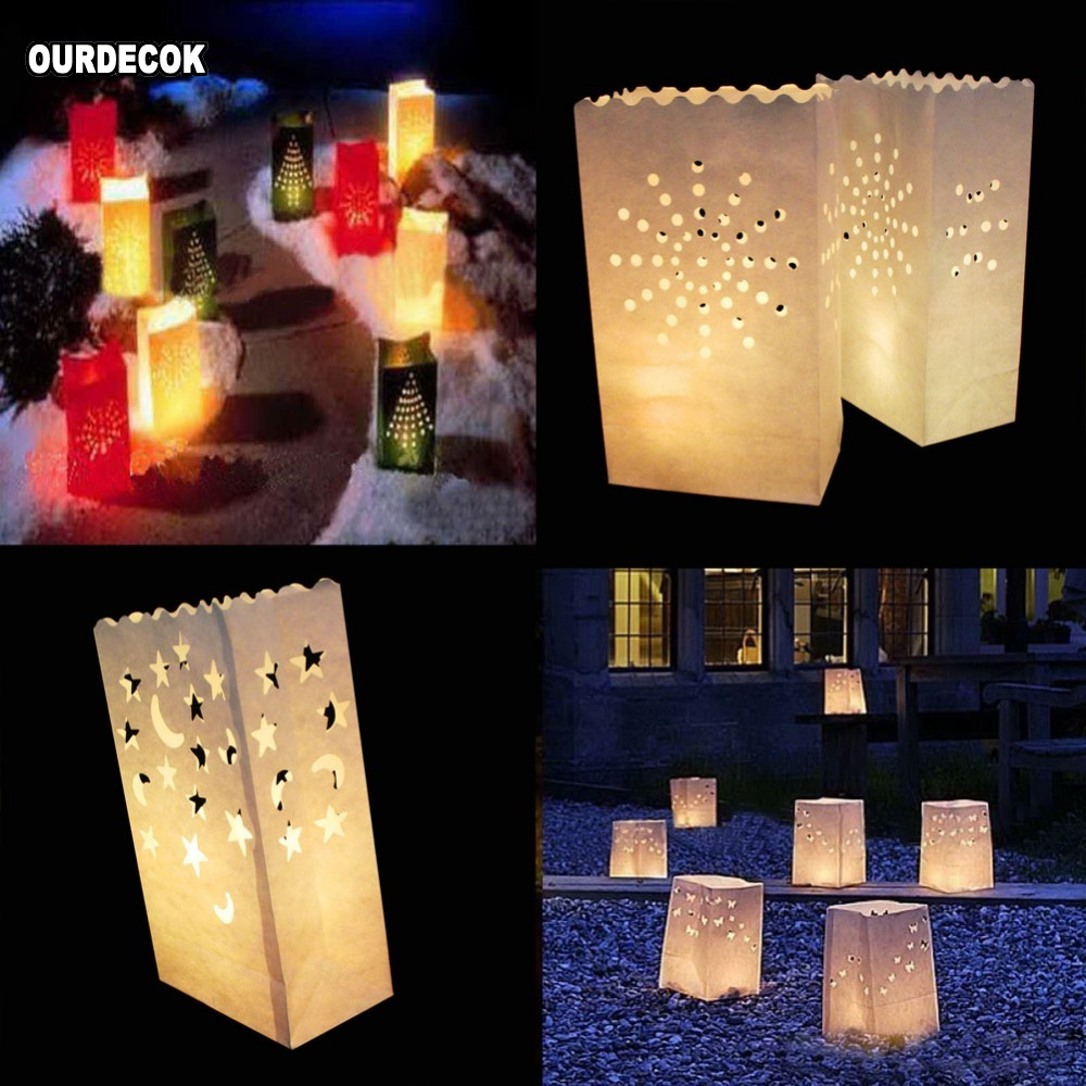 Image 2 - 50 Pcs 25cm White Paper Lantern Candle Bag For LED light Lampion Heart For Romantic Birthday Party Wedding Event BBQ Decoration-in Party DIY Decorations from Home & Garden