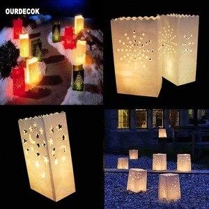 Image 2 - 50 stuks 25cm Wit Papier Lantaarn Kaars Zak Voor LED licht Lampion Hart Voor Romantische Verjaardag Bruiloft Event BBQ Decoratie
