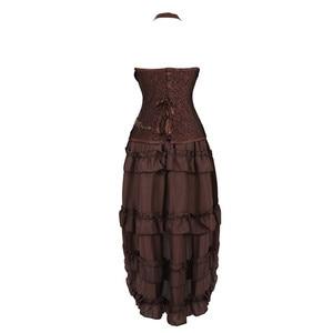 Image 2 - Steampunk Corset Dresss disfraz de Halloween pirata Cosplay para mujer, corsés góticos Bustiers con falda burlesca Set de talla grande