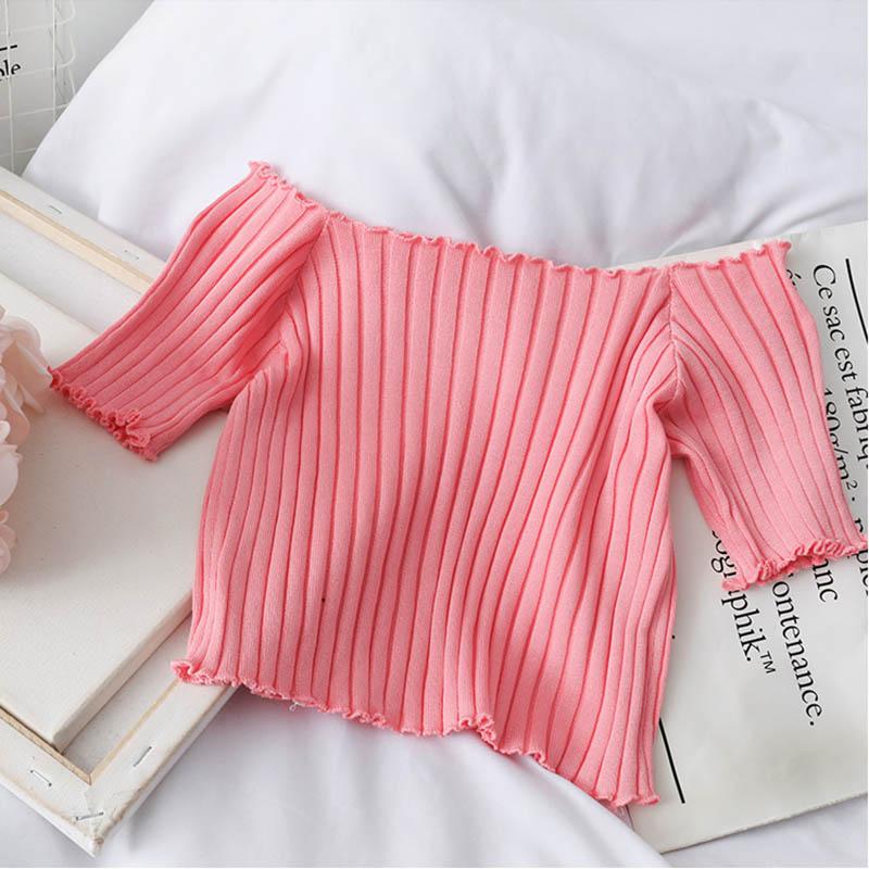 HELIAR Women T-shirts Off Shoulder Knitting Crop Tops Women Short Sleeve Stretchy Ruffles Hem T-shirts Stripes Tops For Women 6