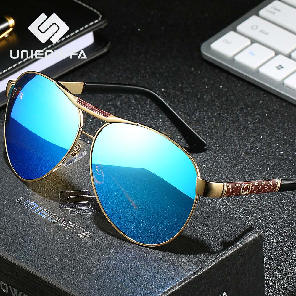 UNIEOWFA Male Aviation Sunglasses Men Women Polarized Brand Designer Blue Mirror Sun Glasses For Men Ladies Pilot Polaroid 2019