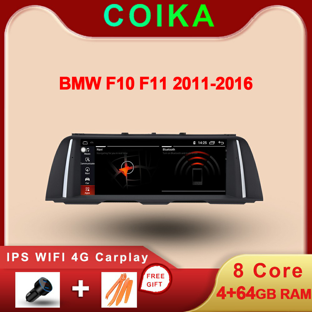 8-Core CPU 4+64G RAM Car IPS Touch Screen Stereo For <font><b>BMW</b></font> 5 Series <font><b>F10</b></font> F11 2011-2017 <font><b>Android</b></font> System Radio SWC AUX WIFI 4G Carplay image