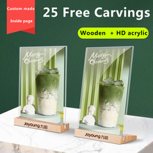 A6 Wooden Display Stand Acrylic A5 Table Menu Price Billboard Milk Tea Table Card Sign Double-Sided Transparent Stand Price Tag