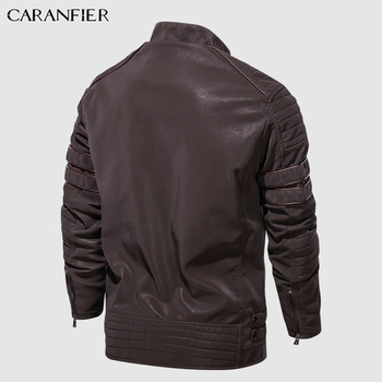 CARANFIER Fashion Winter Leather Jacket Men Stand   4