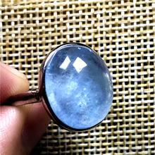 Naturel océan bleu aigue marine perles anneau pour femme homme cristal clair argent 16x13mm perles pierre gemme réglable anneau bijoux AAAAA