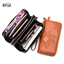 Western Cow Leather Rfid Flower Print Double Zipper Long Women Wallet Fashion Large Capacity Genuine Coin Purse