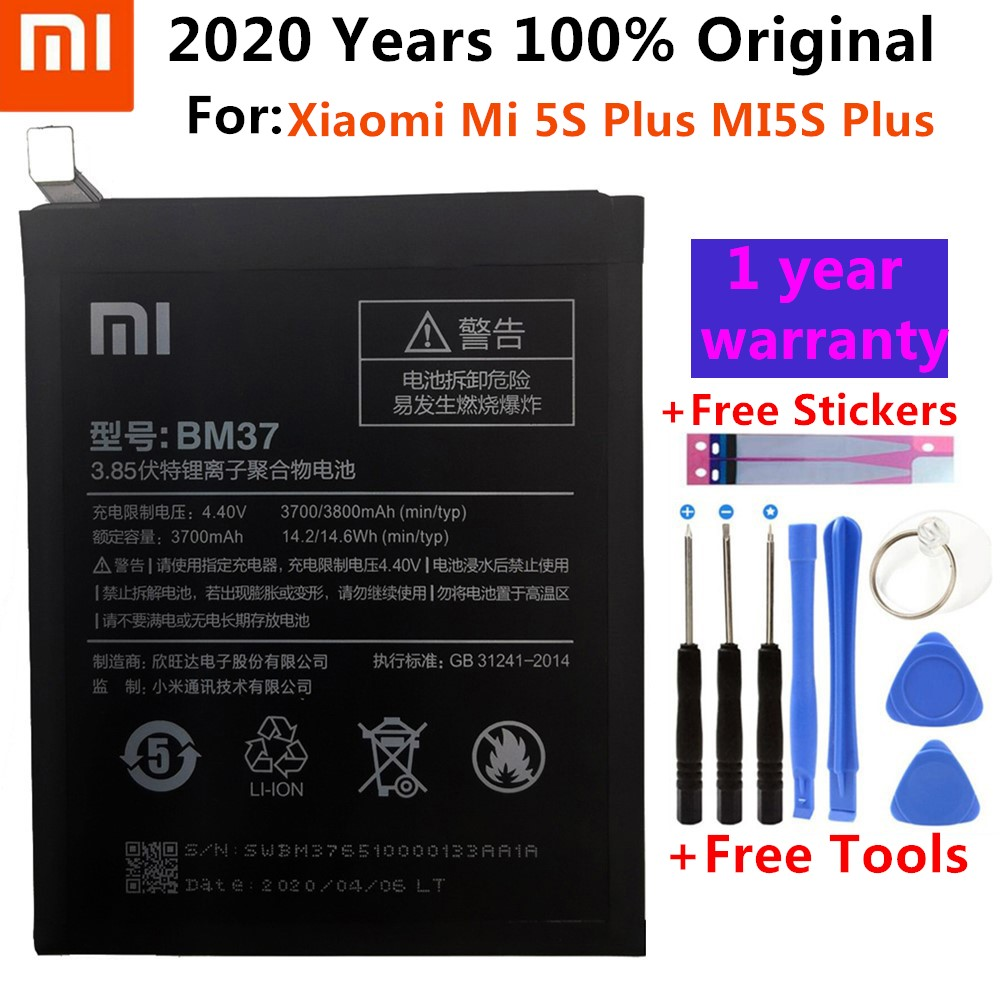 Original Xiaomi <font><b>Mi</b></font> <font><b>5S</b></font> Plus <font><b>Battery</b></font> BM37 3800mAh for Xiaomi <font><b>Mi</b></font> <font><b>5S</b></font> Plus MI5S Plus High Quality BM37 Replacment Phone <font><b>Battery</b></font>+Tools image