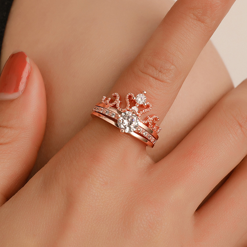 2020 Zircon Ring Plated Alloy Crown Adjustable Opening Fashion Luxurious And Elegant Combination Ring For Girls image