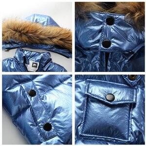 Image 5 - Nova rússia jaqueta de inverno para meninas & meninos casacos crianças outerwear, pato quente para baixo crianças menino roupas de esqui parka brilhante snowsuit