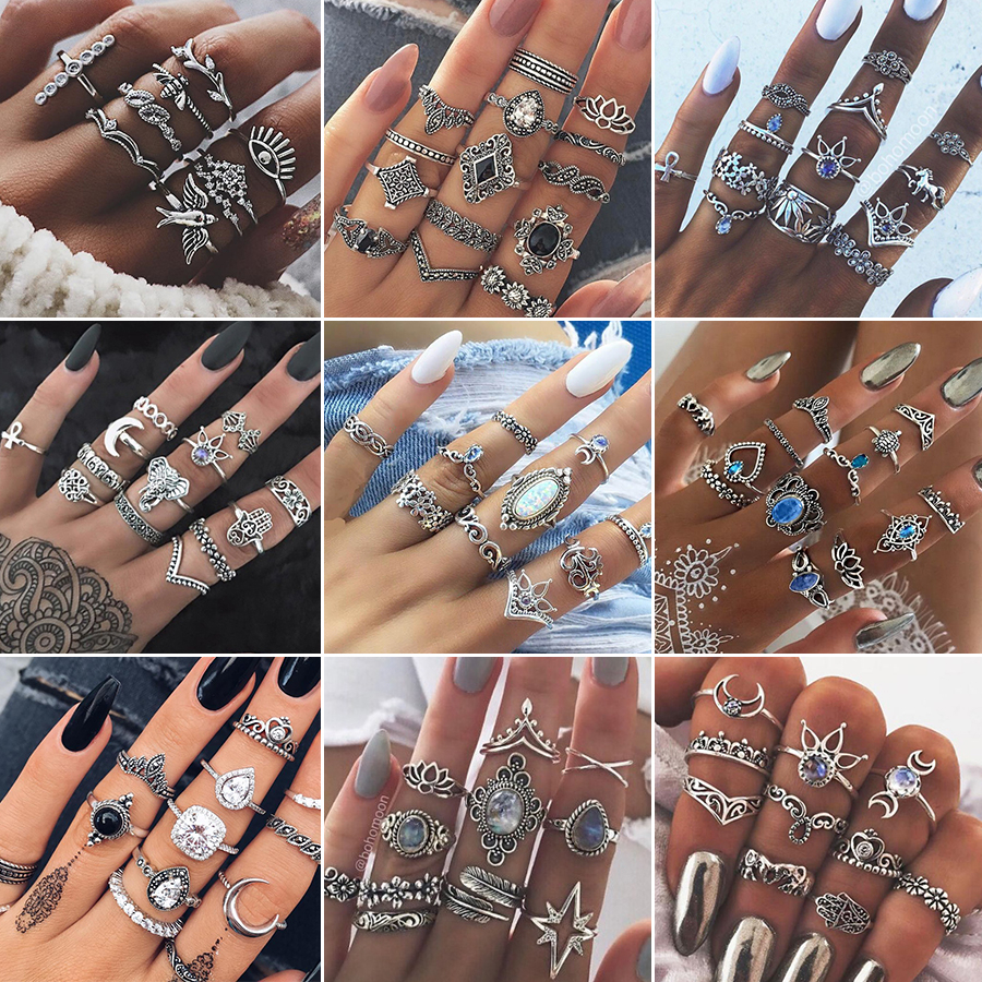 Finger-Rings-Set Jewelry Anillos Crystal Geometric Boho Moon Vintage Bohemian Women Party