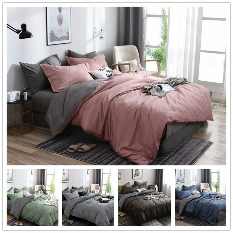 Solid Geometric Bedding Sets Nordic Simple Ployester 3 Pieces Reactive Printing Single Queen King Bedding Sizes