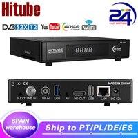 Hitube DVB-S2/T2/C Enigma2 Satellite TV Empfänger 4K Linux Decoder Unterstützung M3U ccam Bauen in WiFi sat empfänger schiff von Spanien