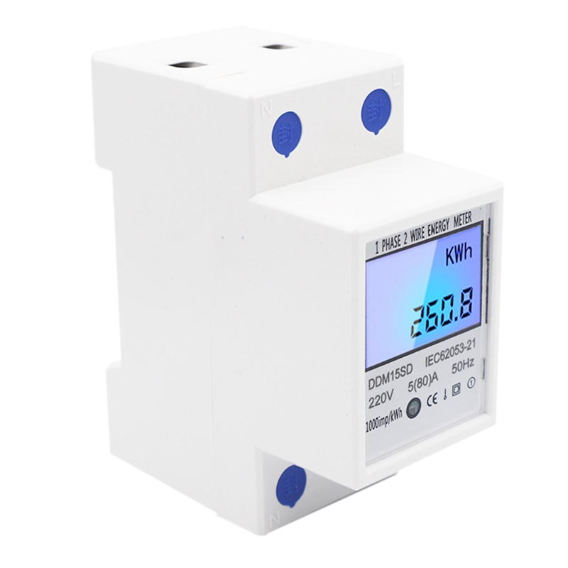DIN-Rail Energy Meter 5-80A DDM15SD LCD Backlight Digital Display Single Phase Electronic Energy KWh Meter