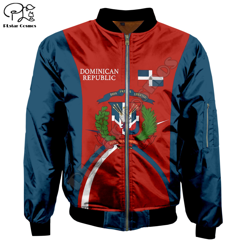 Men Dominican Republic Print Warm 3D Bomber Jackets Unisex Thick Winter Harajuku Long Sleeve Flight Jacket Zipper Coat Outwear